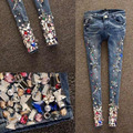 Jeans For Women 2017 Autumn New Arrival Fashion Beading diamond Hole Do The Old Slim Female Jeans Pencil Jeans Pants Feet Pants
