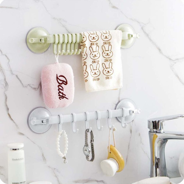 Handdoekenrek Zuignap 6 Haken Badkamer Keuken Muur Deur Houder ...