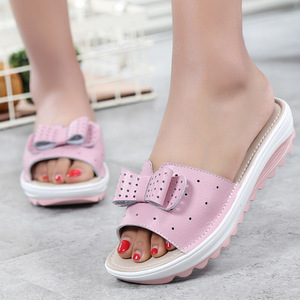 Image 2 - DONGNANFENG Women Female Ladies Genuine Leather Shoes Platform Sandals Slipper Outdoor Summer Cool Beach Bow 41 42 BLAC 1792