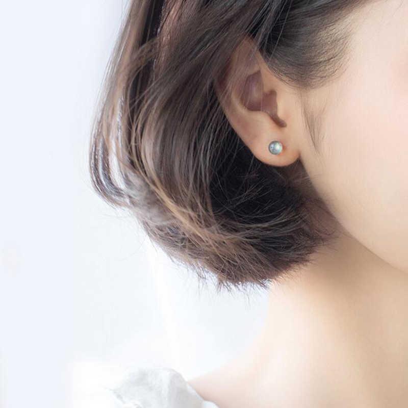 MosDream naturel Labrador boucles d'oreilles s925 en argent Sterling cristal Noble femme élégant Vintage Simple pour les femmes