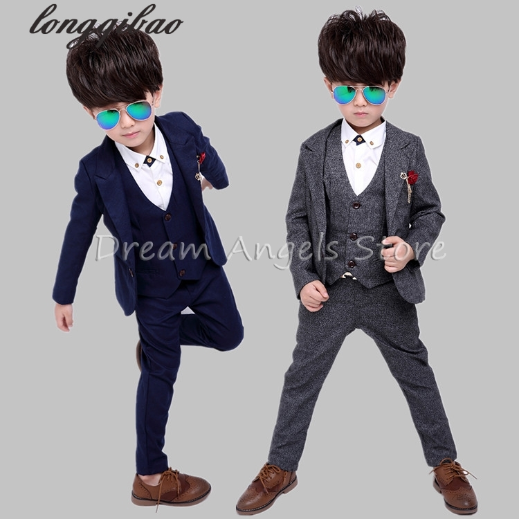 New Child Blazers Suits Buying 4T-12 Boy Clothing sets Coat + Pant Baby Costumes Solid Blue/Gray  Kids Garment 4