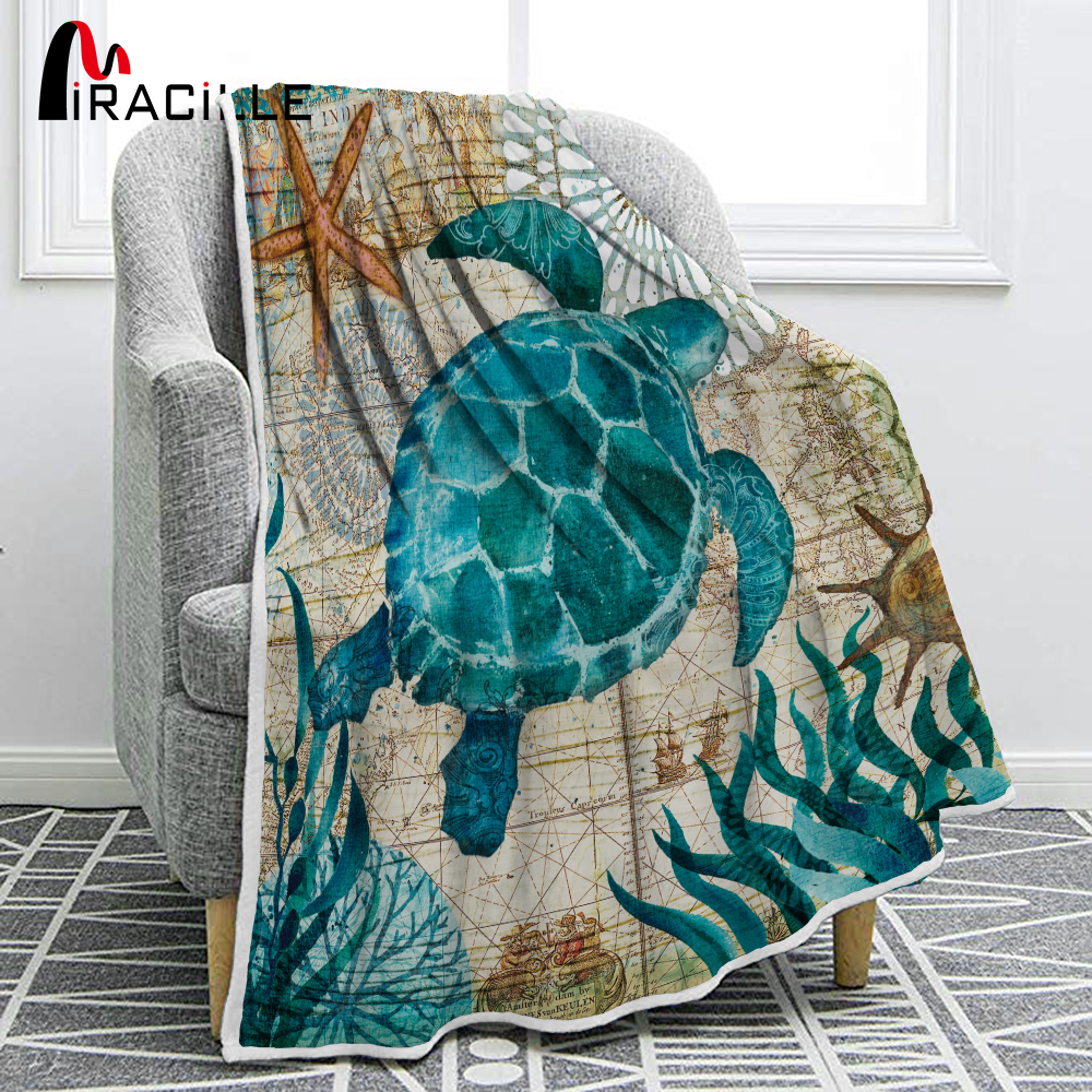 Miracille Sea Turtle Flannel Blanket Printing Throw Fleece Blankets For Sofa Home Couch Bedding