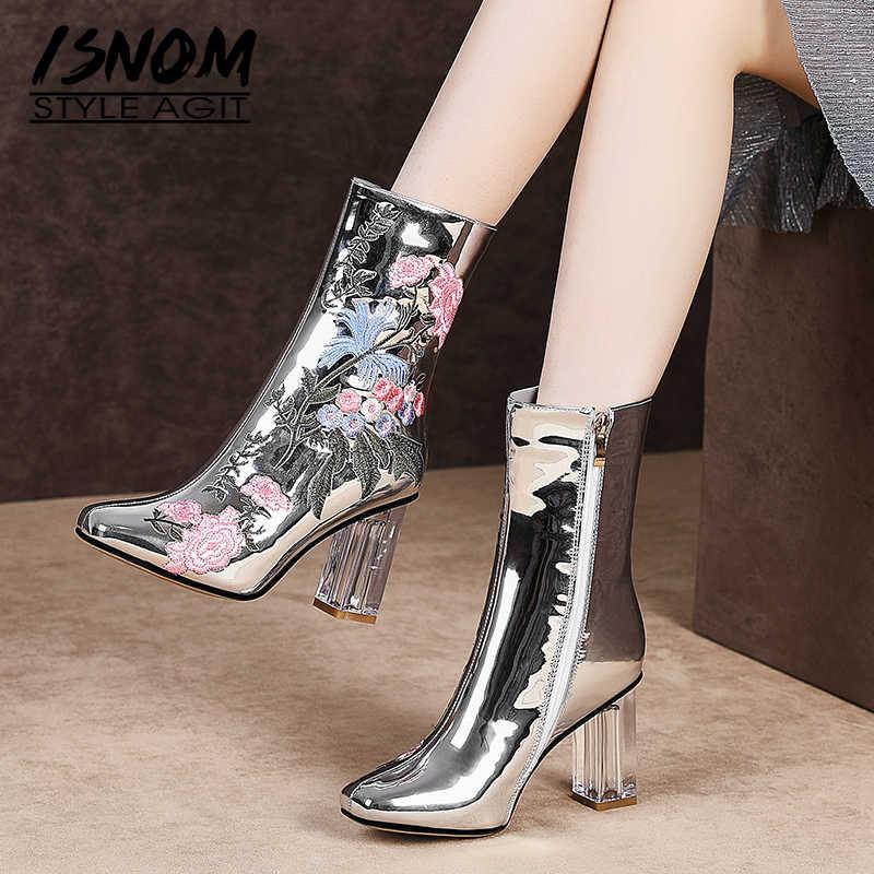 ISNOM Winter Stiefeletten Frauen Kristall Heels Hohe Stiefel Femme Sticken Quadratischen Zehe Schuhe Weiblichen Partei Schuhe Herbst Plus Größe 45