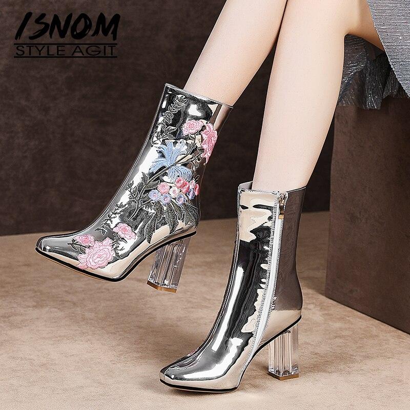 ISNOM invierno botas de tobillo de las mujeres tacones de cristal alta botas de mujer bordar cuadrado del dedo del pie zapatos de mujer zapatos de fiesta zapatos de otoño Plus tamaño 45-in Botas hasta el tobillo from zapatos    1