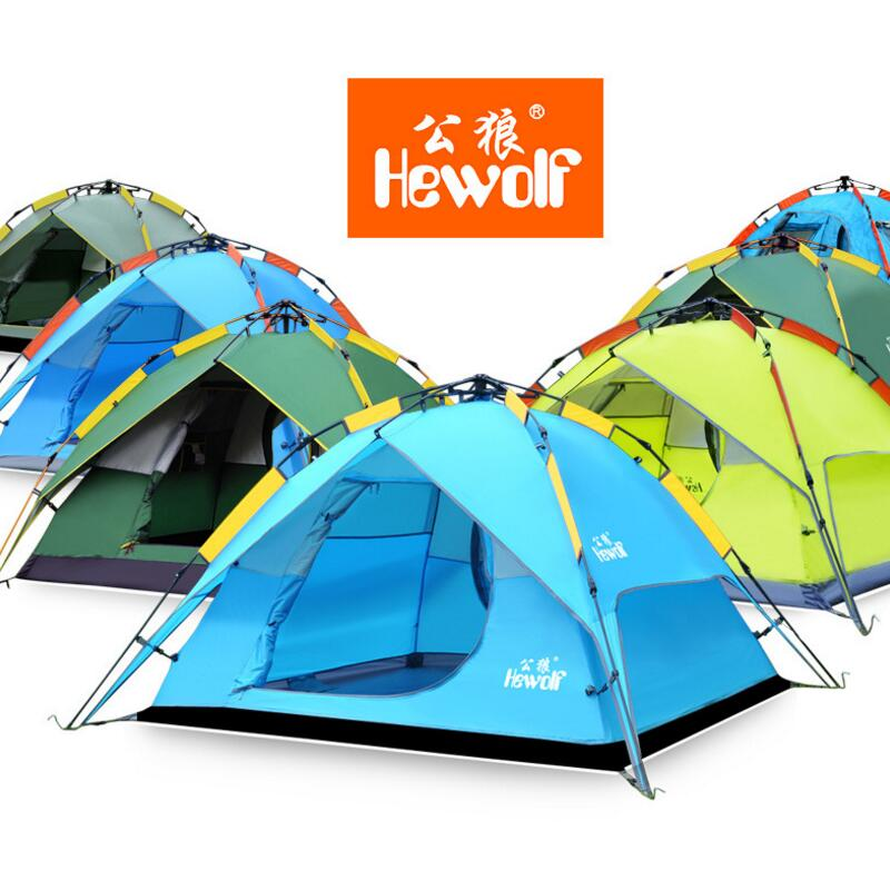 Hewolf Camping Automatic Tent 4 Person Double Layer Waterproof Fishing Family Party Outdoor Tents Multi-functional Awning Tent octagonal outdoor camping tent large space family tent 5 8 persons waterproof awning shelter beach party tent double door tents
