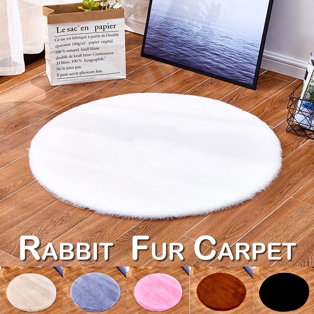 Imitation Rabbit Fur Round Carpet Plush Bedroom Bedside Girl Cheap Children Play Mat Fashion New Rug D30