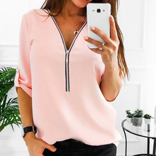 Women Spring Summer Chiffon Blouse Top V Collar Zipper Roll Up Long Sleeves Loose Shirt Blusa Feminina Plus Size 3X(China)