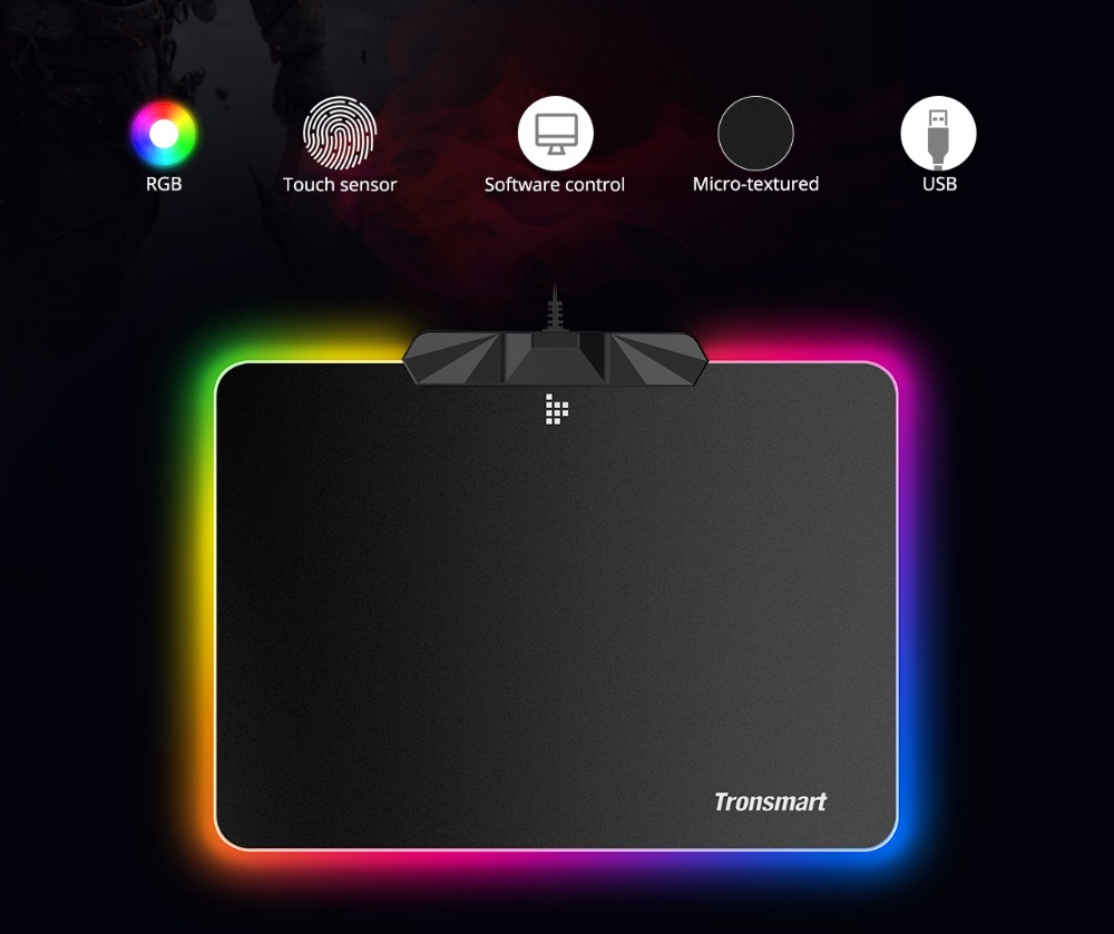 Tronsmart Shine X RGB Gaming Mouse Pad Compupter Mouse Pad Gamer USB Mat with 8MB flash memory,16.8 Million Colors,Touch Sensor 4