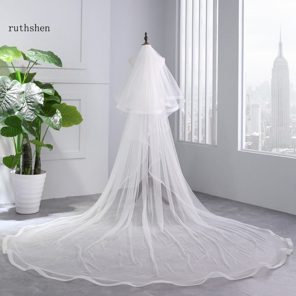 Image 4 - Bridal Veil Ivory White Cathedral Wedding Veils With Comb Birde Accessories 3 M Long Two Layers 2 M Wide Long VelosBridal Veils   -