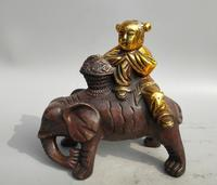 Collection archaize brass boy Riding elephant statue