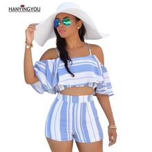 New Summer Fashion Women Blue Striped Sling Shorts Suits Slash neck Ruffles off the shoulder Sexy beach Women's Two pieces Sets