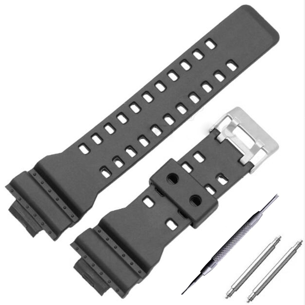 GENBOLI 16mm Silicone Rubber Watch Band Strap Fit For G Shock Replacement Black Waterproof Watchbands Accessories
