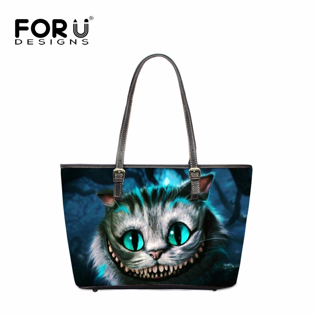 FORUDESIGNS Fashion Animal Women PU Leather Handbags Brand Cool Cat Woman Hand Tote Bags Ladies Shoulder Beach Bag bolsos mujer