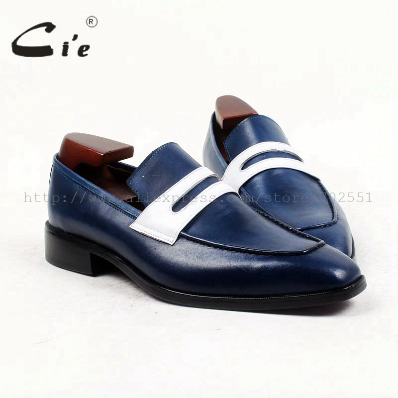 cie square toe penny shoe slip on blue white 100 genuine calf leather breathable bespoke custom