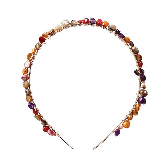 JUJIA Natural stone Hair band Simulated Pearl sea shells Hair Jewelry 4