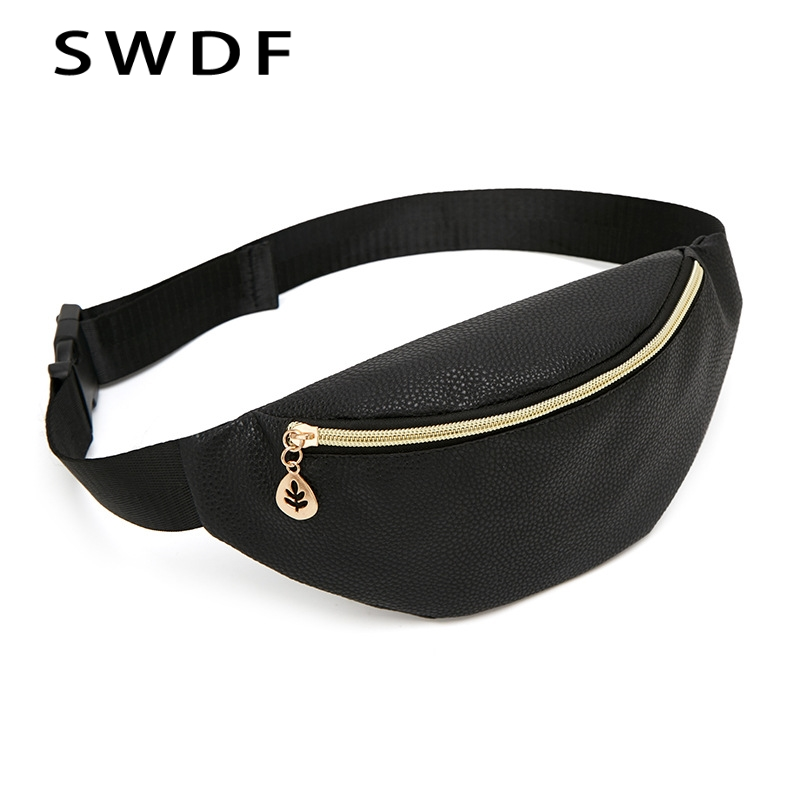 SWDF Holographic Black Designers Fanny Pack Women's Purse High Quality Female Waist Bag Fashion Chest Crossbody Belt Bag Kidney