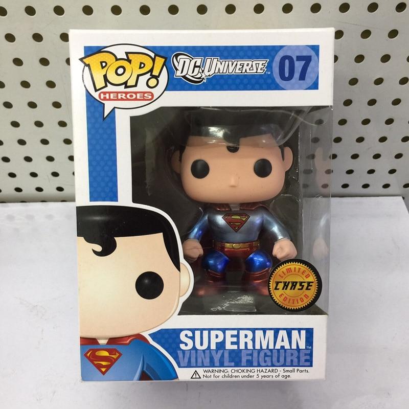 Exclusif FUNKO POP officiel DC Comics: héros Superman Chase Variant métallique #07 figurine en vinyle à collectionner modèle jouet