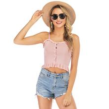 2019 New Yfashion Women Summer Fashion All-match Solid Color Slim Sling Vest Tops Top Selling