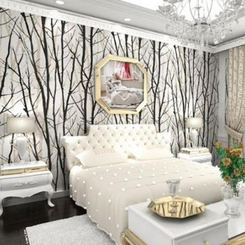 3D stéréo noir blanc abstrait Branches forêt bois arbres papier peint en relief Viny Mural bâton PVC étanche papier peint