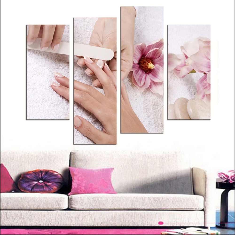 4 لوحات الحديثة المشارك قماش اللوحة الزخرفية جميلة مسمار الفن اللوحة الجمال ماكياج قماش الفن طباعة ملصق ديكور المنزل