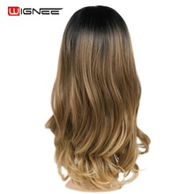 Wignee Lace Front Synthetic Wig For Women High Density Heat Resistant Natural Black Blonde Middle Part Daily Party Long Hair Wig wignee hand made front ombre color long blonde synthetic wigs for black white women heat resistant middle part cosplay hair wig