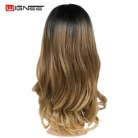 Wignee Middle Part Lace Front Synthetic Wigs For Women High Density Temperature Black Brown/Ash Blond Glueless Cosplay Hair Wig