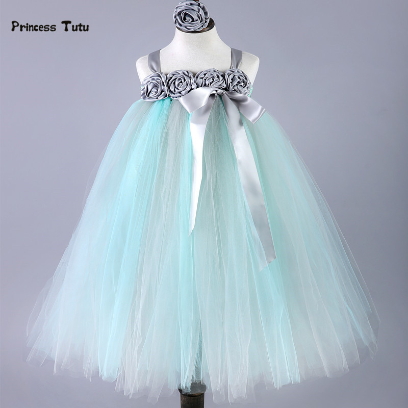 Handmade Girl Princess Tutu Dress Baby Tulle Wedding Flower Girl Dress Kids Pageant Birthday Bridesmaid Party Gown Dresses 2-14Y baby princess girl wedding birthday