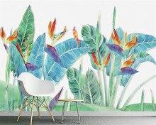 Купить с кэшбэком Custom wallpaper for walls 3 d Hand watercolor drawn banana leaf bird and flower photo mural wallpaper wall sticker beibehang