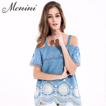 MCKIKI2017 spring women tannins stitching lace lotus leaf side strapless coat wave pattern hem embroidery sling small shirt