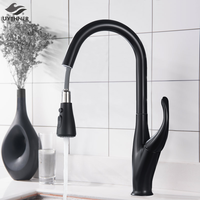 Chrome Black Brushed Pull Out Kitchen Faucet Hot And Cold Water Mixer Faucet For Kitchen Water