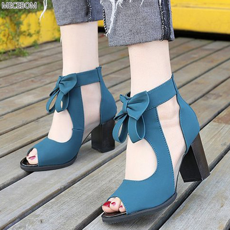 Women Pumps High Thick Black Heels Ladies Shoes Riband Butterfly Knot Zipper Open Toe Casual wedding Party Dress Sandals 0405W 2