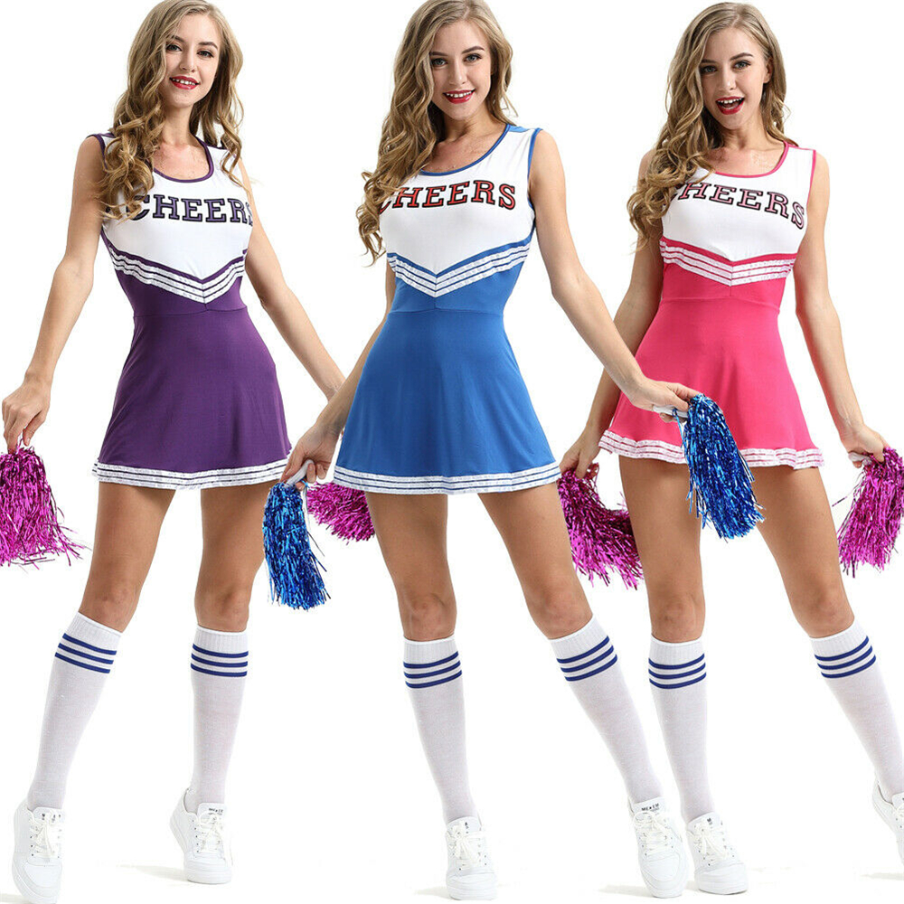 Image 2 - 2019 New Sexy High School Cheerleader Costume Cheer Girls Uniform Party Outfit  Pompoms summer dress-in Dresses from Women's Clothing