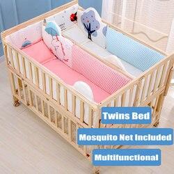 Cama de gemelos multifuncional con juego de cama y mosquitera, la cama se puede extender y unir con cama de adulto, cuna de bebé de madera de pino