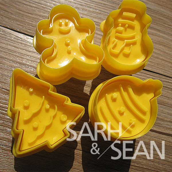 SLH093 Christmas series Plunger Fondant Biscuits Cutter Decorating Sugarcraft Gum Paste Tools Cupcake Kitchen Cookie accessories