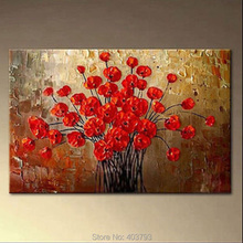 Huge Modern Abstract 100% Painted Oil Painting on Canvas Wall DECOR Art Red Flower Decorative Pictures No Frame