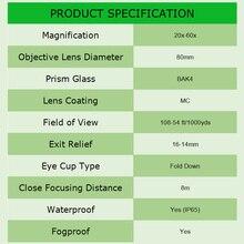 SVBONY SV28 20-60×80 Zoom Spotting Scope BAK4 Prism MC Lens Birdwatching Hunting Monocular Telescope Spyglass Waterproof F9308