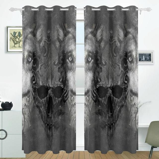 Skull wolf curtains drapes panels darkening blackout grommet room skull wolf curtains drapes panels darkening blackout grommet room divider for patio window sliding glass door planetlyrics Gallery
