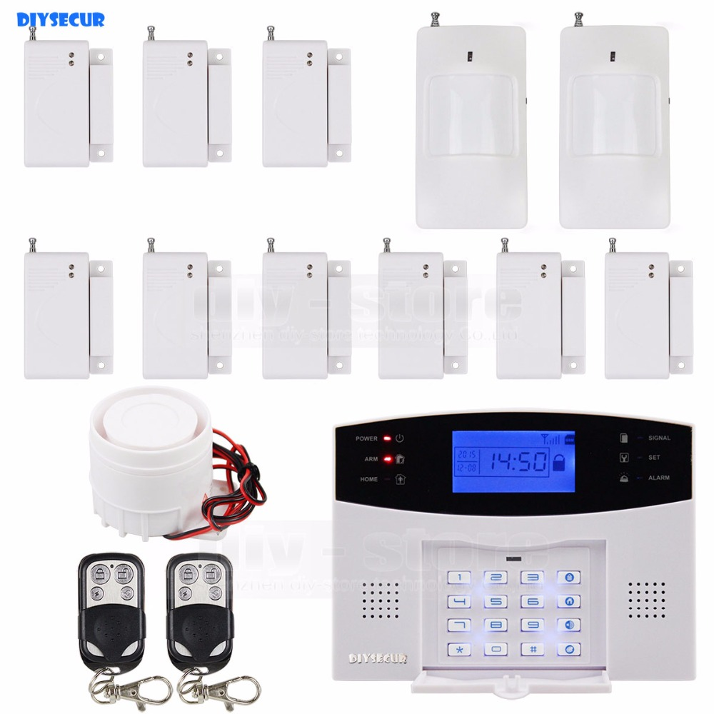 DIYSECUR Wireless&Wired GSM Home Security Burglar Alarm System With SOS Intercom diysecur wireless and wired gsm automatic dialing alarm system m2bx pet friendly home security