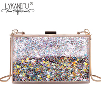 LYKANEFU Candy Color Party Bag with Hasp Lock Women Bag Summer Day Clutches Ladies Hand Bag Clutch Purse Bag for Phone 2 Chains
