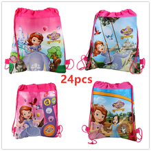 24Pcs Disney Princess Sofia Theme Non-woven Drawstring Backpack Gift Bag Storage Girls Kids favor school bags Party Supplies