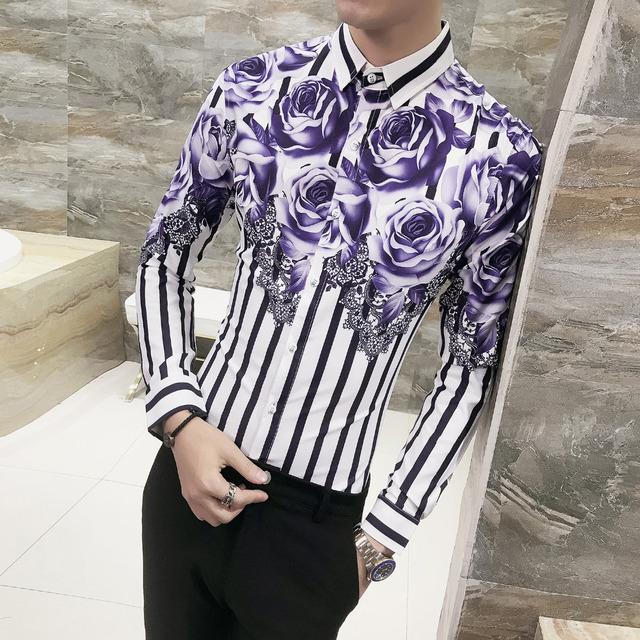 Floral Shirt Men Long Sleeve Simple Gentlemen