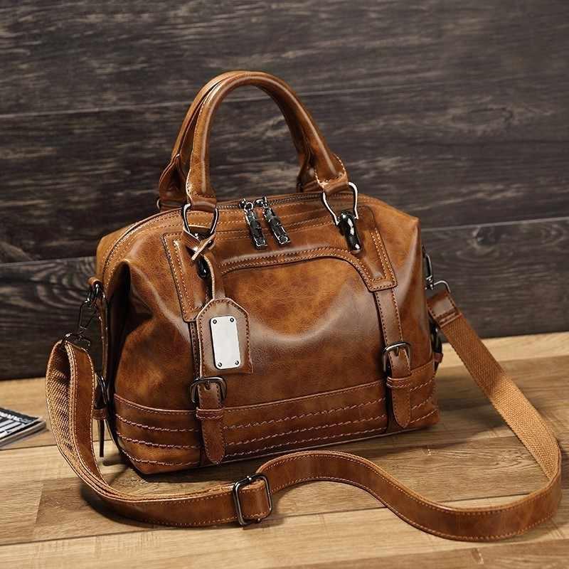 98d9799473 LUYO Vintage Boston Oil Wax Leather Women Messenger Bags Luxury Handbags  Women Bags Designer Shoulder Bag