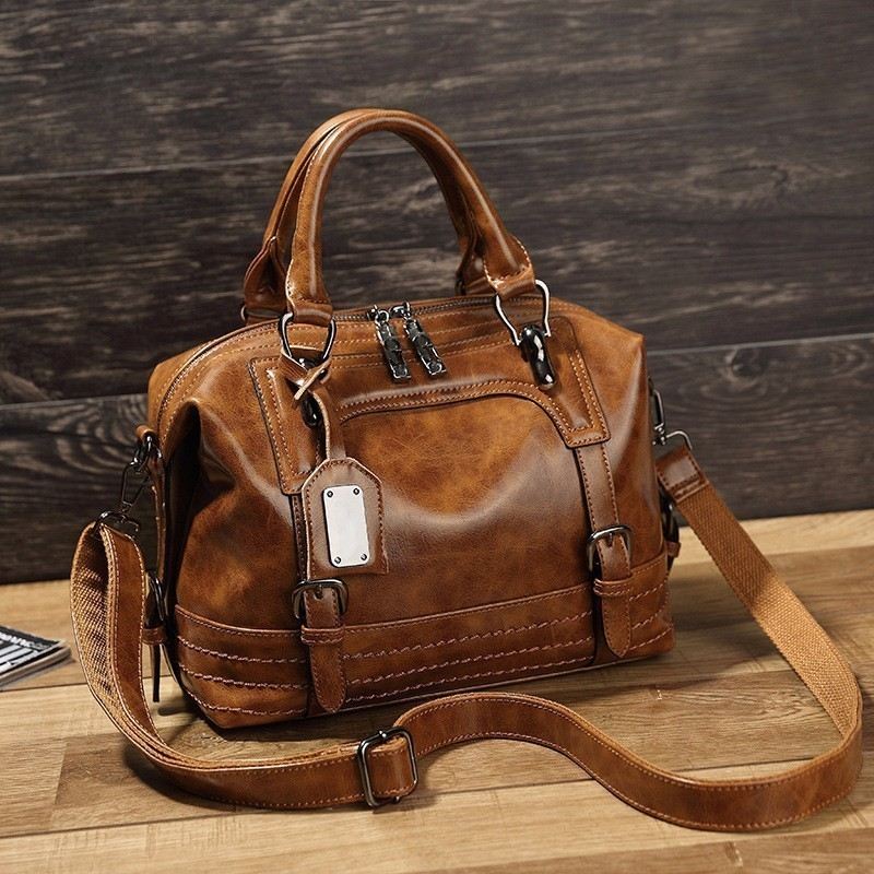 LUYO Vintage Boston Oil Wax Leather Women Messenger Bags Luxury Handbags Women Bags Designer Shoulder Bag Female Postman Tote neverout oil wax style split leather bag for women vintage boston bag shoulder sac 3 color handbags tote zipper tote new handbag