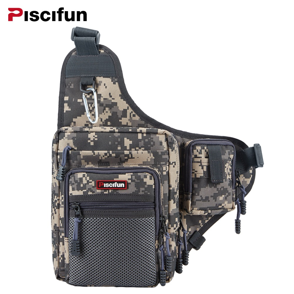 Piscifun Multi-Purpose Fishing Bag Waterproof Canvas Waist Pack Zipper Outdoor Bag Reel Lure Bags Pesca Fishing Tackle Bag