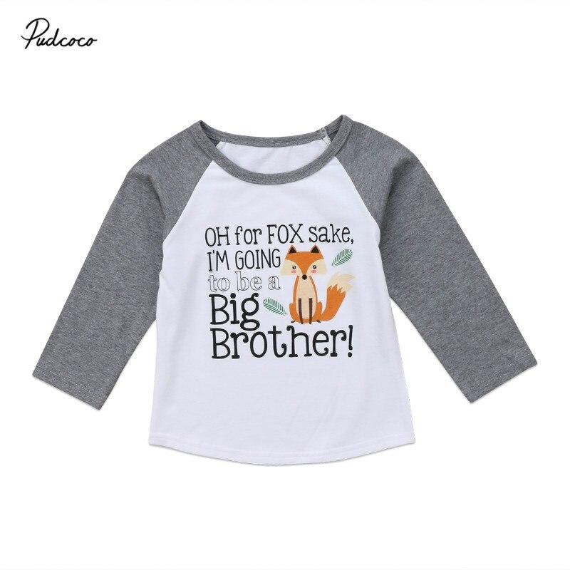 Pudcoco T-Shirts Boys Tops Long-Sleeve Autumn Baby-Boy Kids Children Spring Fox-Printed