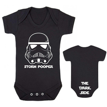 YSCULBUTOL Storm Pooper THE DARK SIDE Baby bodysuit Baby Grow Star Wars Inspired Front and back print baby clothes 0-12M slogan print racer front bodysuit