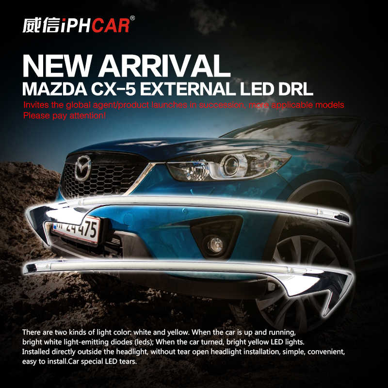 Free shipping iphcar car styling external white/yellow daytime running light with turn light suitable