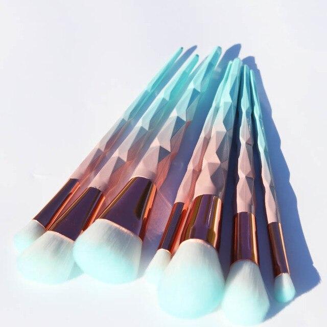 AiceBeu 7/10/12 pcs diamante Unicórnio Maquiagem Macarons cor Facial Fundação Maquiagem Cosméticos Escova Brushes Set Verde Kit