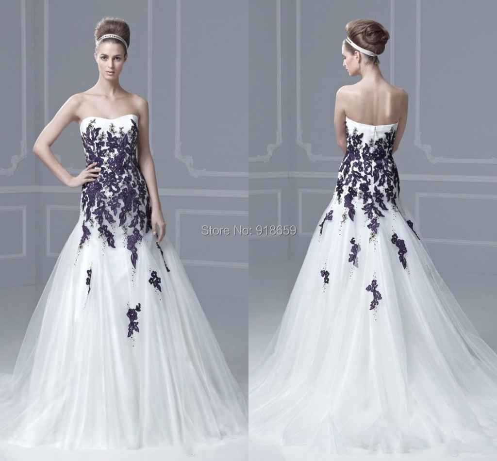 Popular purple wedding dress buy cheap purple wedding for White wedding dress with lavender
