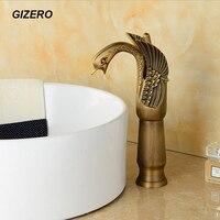 Antique Brass Swan Faucet Bathroom Vanity Sink Mixer Tap Swan Mixer Torneira Banheiro ZR161